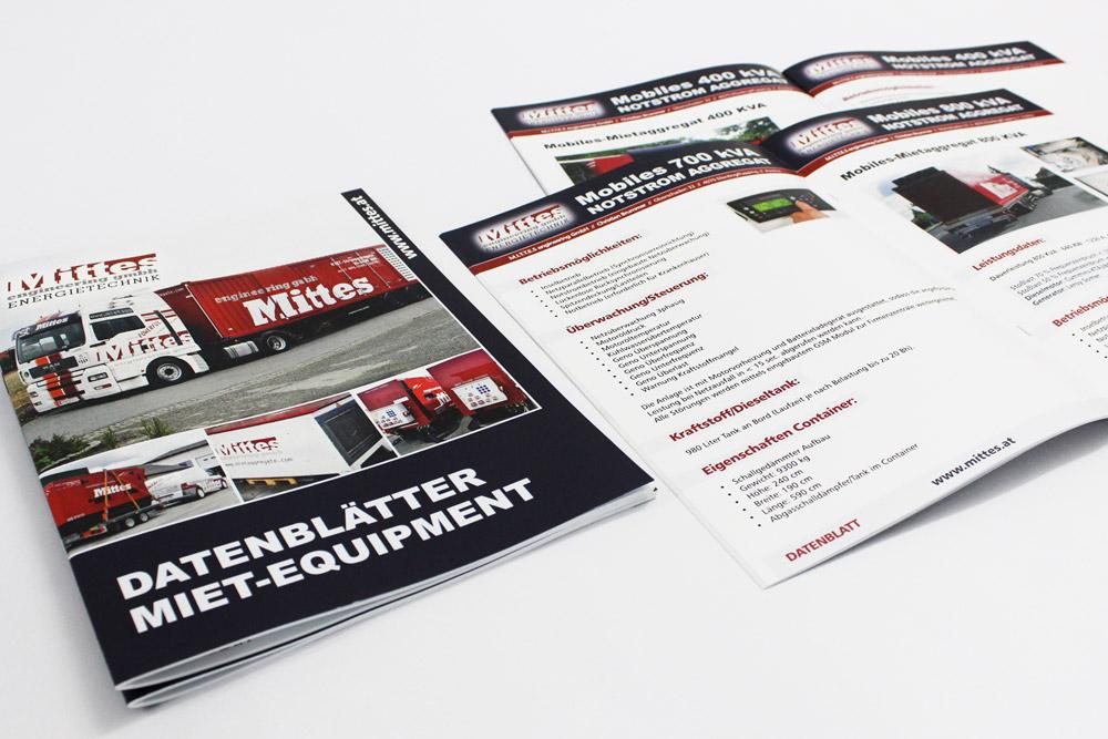 32-seitige broschüre A4 'datenblätter für miet-equipment'