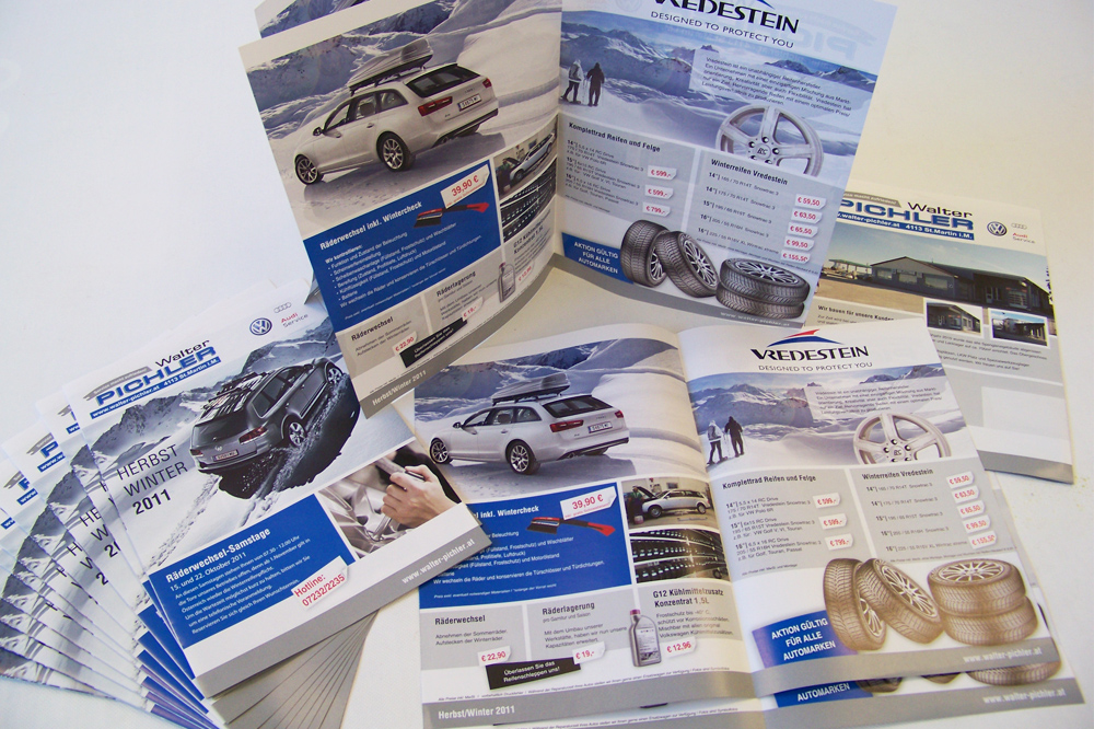 klappfolder A4 'herbst-winterangebote', personalisiert und als beilage in einer wochenzeitung