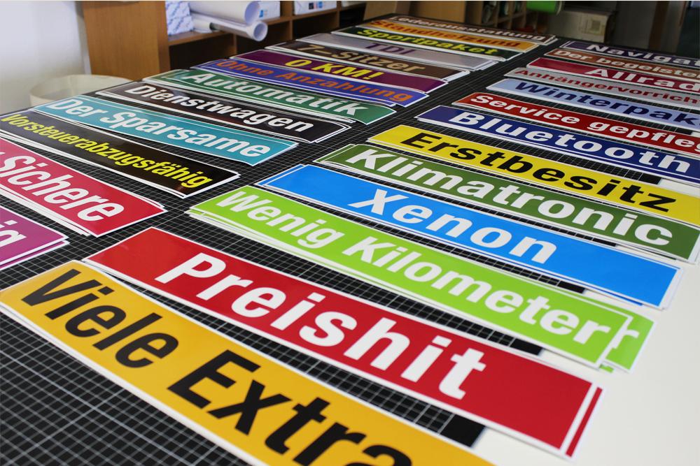 digitaldruckaufkleber für vorführfahrzeuge