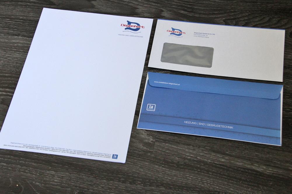 briefpapier und vollflächig bedruckte kuverte