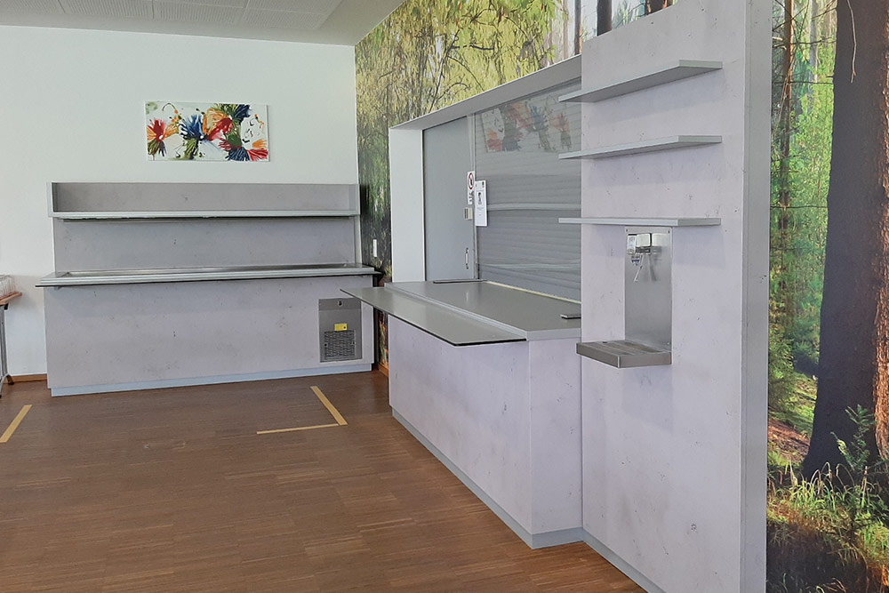 kantine in betonoptik foliert
